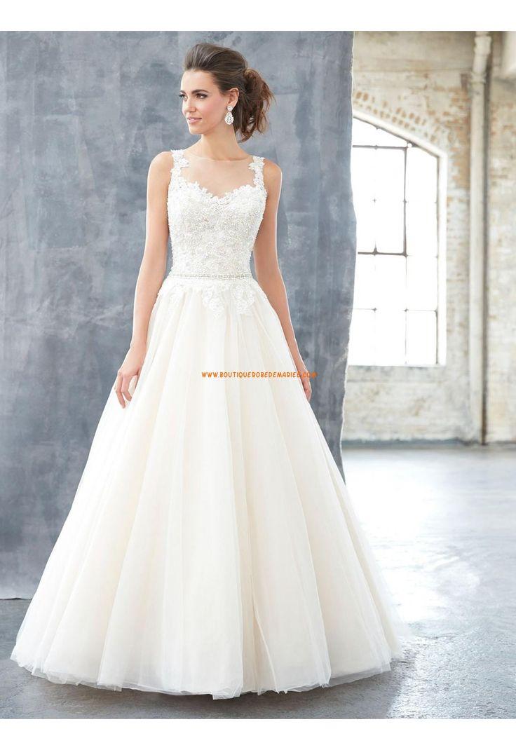 Robe de mariée sans manches dos transparant princesse