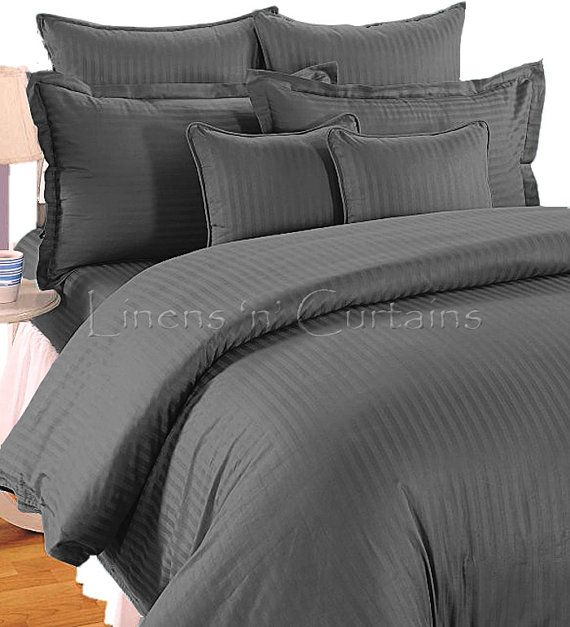 Grey Stripe Duvet Cover Set 3 Pc Egyptian Cotton Bedding