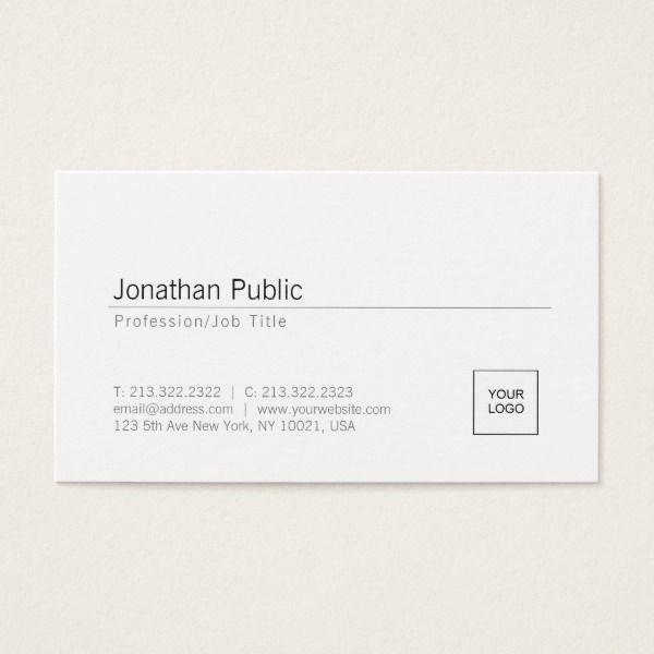Add Your Logo Modern Elegant White Minimal Design Business Card Custom  Office Supplies #business #
