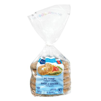 PC Blue Menu Thins Multigrain Bagels PC THINS Blue Menu Multigrain Bagels are the bagels of your dreams: low fat, low sodium, and thinner than regular bagels. Slim-cut, they'll bring out the flavour of your favourite toppings. Whole grains make them perfect.