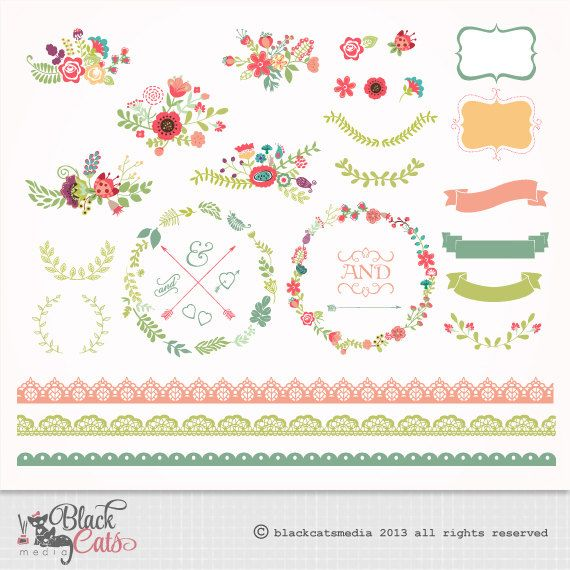 Flower frames and Lace Digital Clipart Ribbons and Frames for Wedding invitation Scrapbooking - Instant Download - Eps and PNG files on Etsy, $3.50