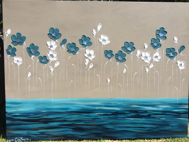 'Narooma Poppies' 76x101cm tall poppies dancing over a turquoise ocean.