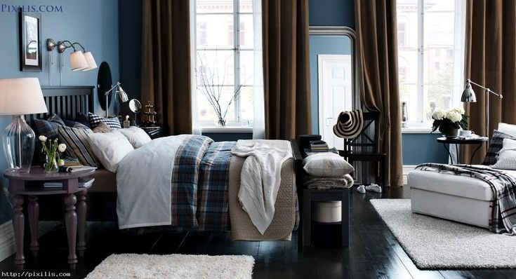 Bedroom: Fabulous Modern Black And Blue Bedroom Decoration Using ...