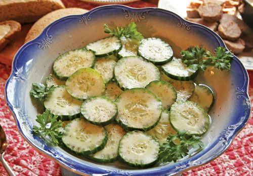 This Swedish cucumber salad recipe is a refreshing part of a traditional Scandinavian smorgasbord.