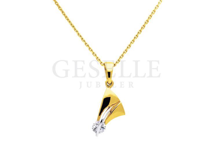 Elegancka zawieszka o fantazyjnym kształcie z cyrkonią - żółte złoto próby 585 | ZŁOTO \ Żółte złoto \ Zawieszki NA PREZENT \ Rocznica NA PREZENT \ Urodziny od GESELLE Jubiler