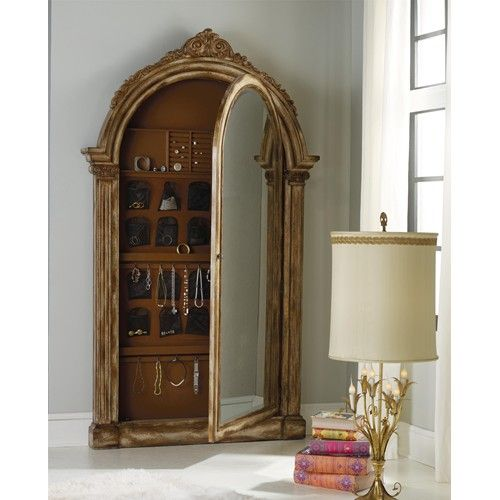 Exceptional Mélange Arched Vera Floor Mirror With Gold Leaf And Hidden Jewelry Storage  By Hamilton Home