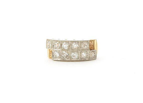 1930's Art Deco Diamond Wedding Band app .90 ctw Old