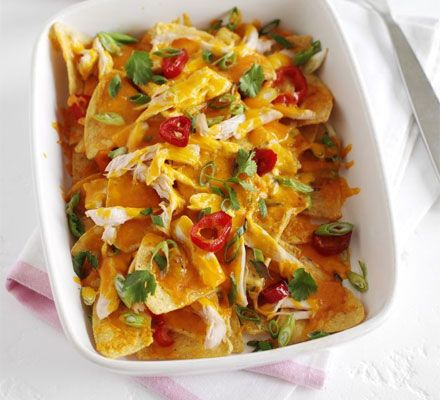 Quick and Easy Chicken Nachos - I use the gluten free corn chips but they are hard to find so when I do this is a treat dish for me!