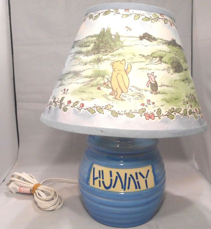 Disney Winnie The Pooh Blue Deluxe Hunny Pot Nursery Lamp & Classic Pooh Shade #Disney