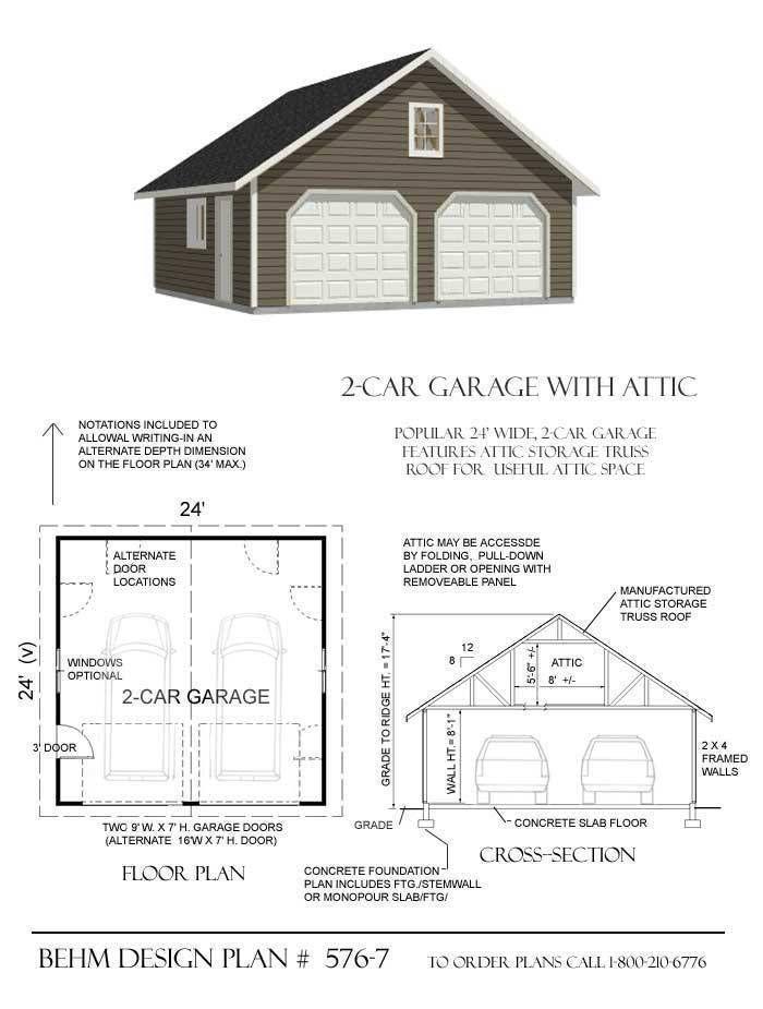 576 7 24 X 24 Garage Plans Garage Plan Garage