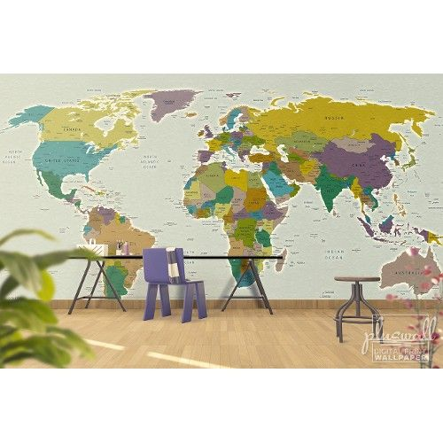 Güncel Siyasi Dünya Haritası 3d Duvar Kağıdı   Indirim 55,20 TL ve ücretsiz kargo ile n11.com'da! Pluswall 3 Boyutlu Duvar Kağıdı fiyatı Dekorasyon