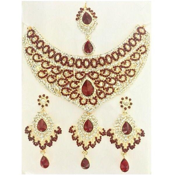 Maroon Indian Jewelry Set Bollywood Jewelry Set