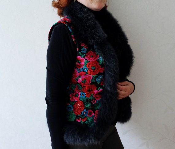 Handmade Vest floral woolen scarf polar fox vest by MadeInTheUSSR