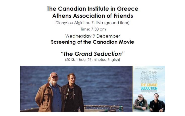 "Canadian film ""The Grand Seduction"" December 9 @ 7:30 pm - 9:00 pm"