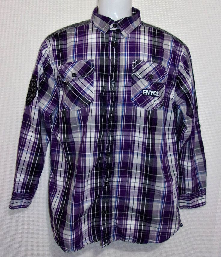 Men's ENYCE Purple Plaid Button Front Shirt Size XL 18/20 Sean Combs Lightweight #enyce #ButtonFront