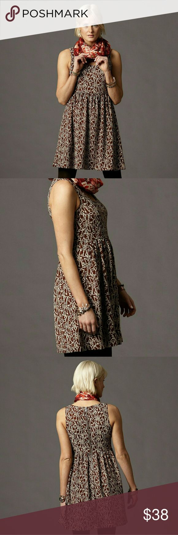 """Fossil Lucy Dress key print Fossil Lucy Dress Size XS  Vintage Key Print  100% polyester Fully lined Bust 32"""" Waist 26"""" Total length 33""""  **bundle and save 20%** Fossil Dresses"""