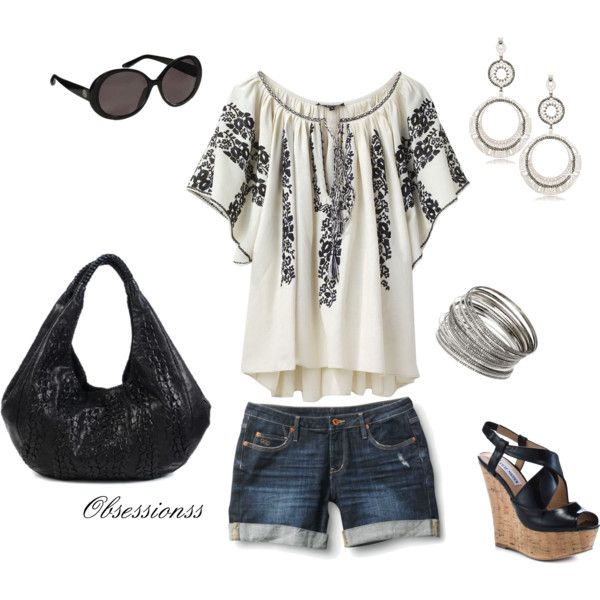 love this outfit with different shoes.  Just not in to the chunky heel.Shoes, Fashion, Style, Shirts, Summer Outfits, Black White, Flip Flops, Summertime, Summer Time