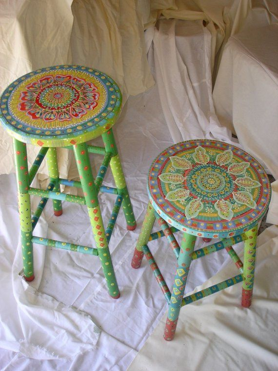 Fun handpainted sturdy wooden stool, the shorter one of two. Clear coated several times for normal wear and tear of daily use. Foot rungs may show some wear after normal use. Seat measures 13 diameter Height 22 1\/2 PLEASE contact me to confirm shipping cost. Shipping costs may vary. Shipping more than one large item can be more cost effective.