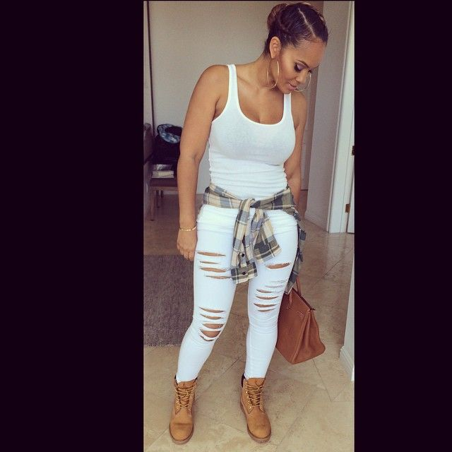 Evelyn Lozada @evelynlozada Instagram photos | Websta  Ripped Jeans T shirt  Timberlands