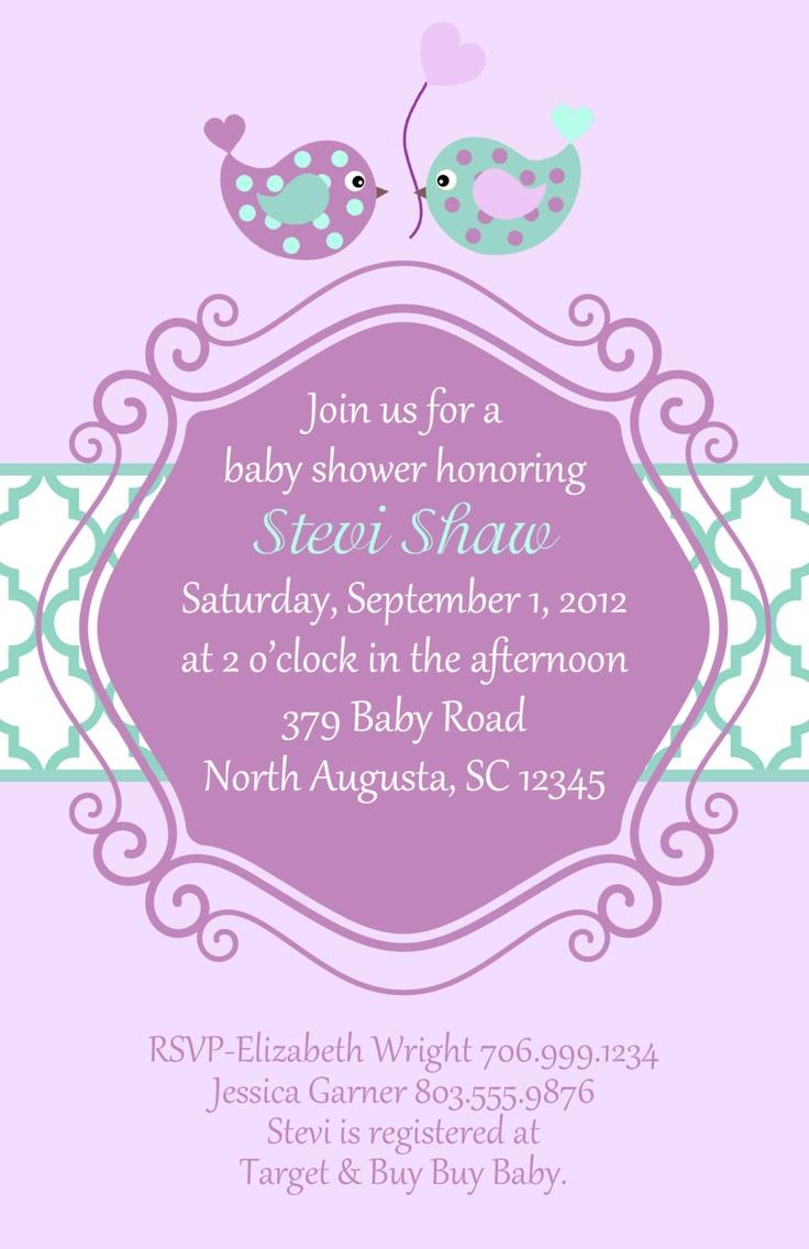 Purple and Teal Baby Bird Shower Invitation (set of 20 invites). $25.00, via Etsy.
