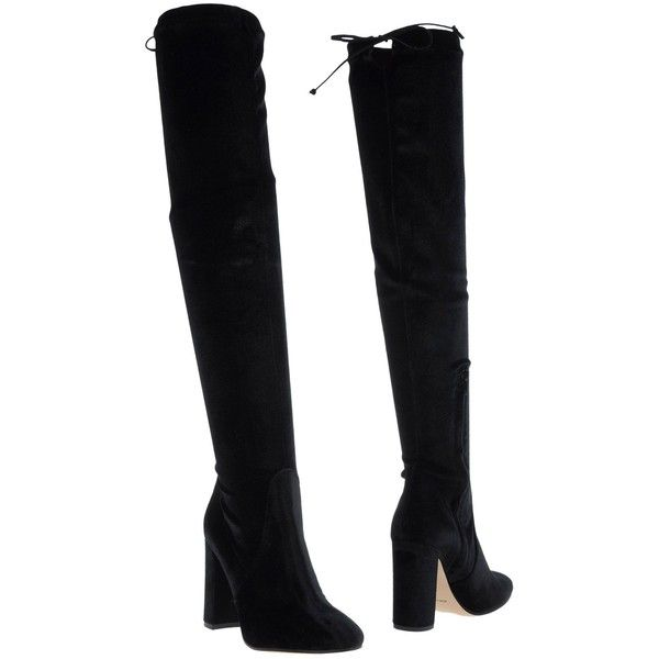 Bianca Di Boots ($196) ❤ liked on Polyvore featuring shoes, boots, black, over knee boots, velvet boots, thigh high boots, black shoes and above knee boots