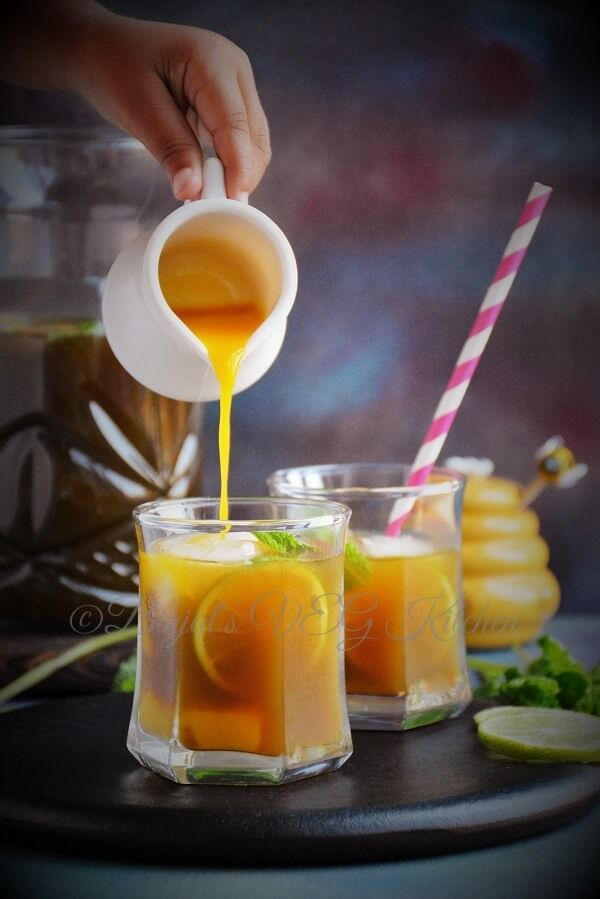 Mango iced tea.  Mango is the master fruit. If it has mango, I'm bound to enjoy it.