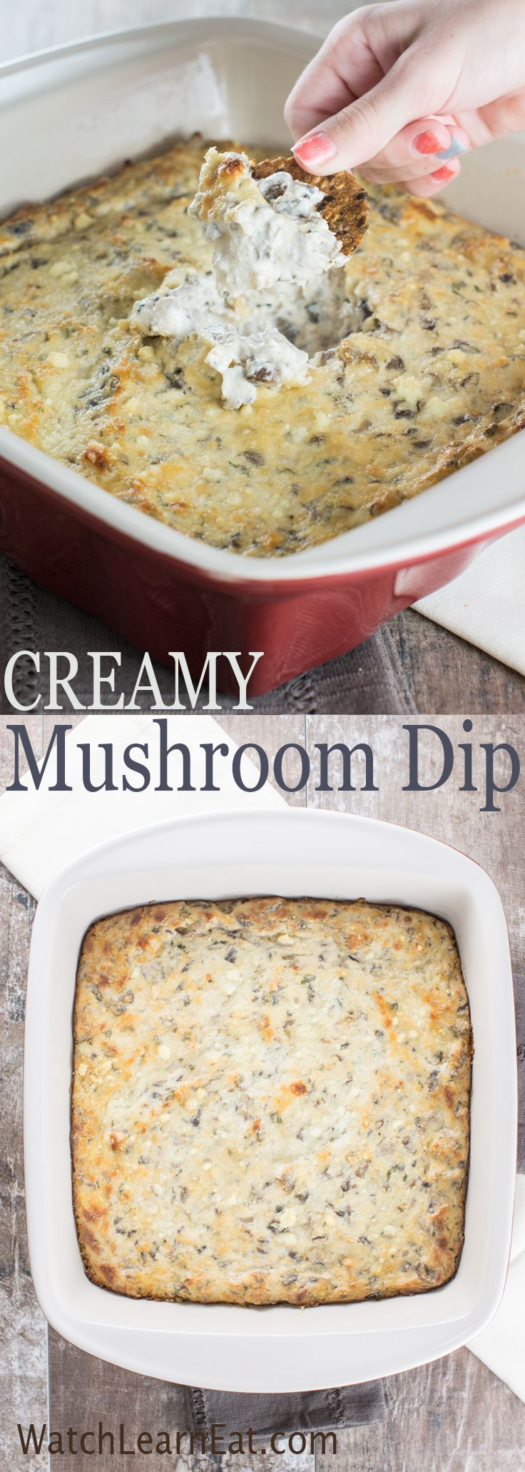 This Creamy Mushroom Dip combines two kinds of mushrooms and a blend of Italian grated cheeses to create a warm appetizer your guests will love.