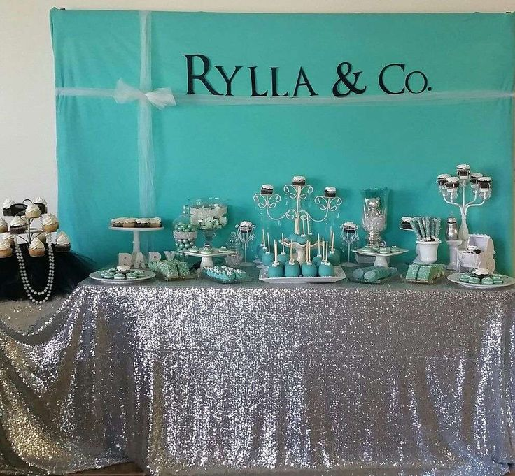Dessert table at a Tiffany & Co. baby shower party! See more party planning ideas at CatchMyParty.com!