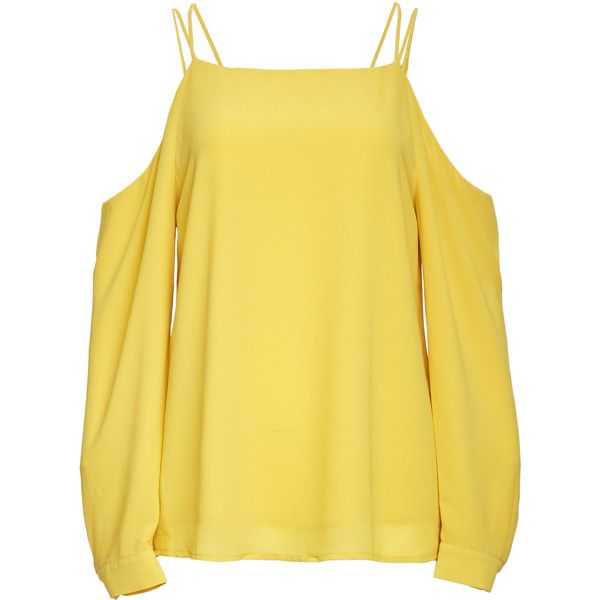 Dailylook Nelly Strappy Cold Shoulder Blouse (96 CAD) ❤ liked on Polyvore featuring tops, blouses, yellow, strappy top, cut-out shoulder tops, cut shoulder tops, open shoulder blouse and yellow blouse