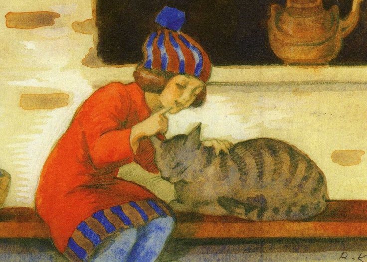 Girl with a cat by Rudolf Koivu (1890-1946). Koivo painted many postcard. Illustrator