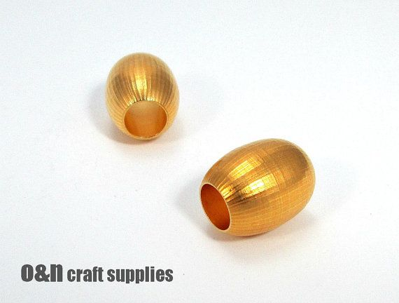 Barrel gold plated bead 20mm   1 by OandN on Etsy, $3.90  #jewelrysupplies #goldplated