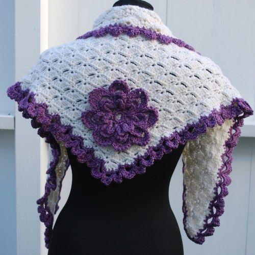 Crochet shawl with flower