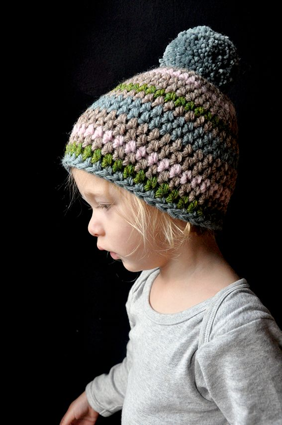 like the striping pattern- simple beanie made to look like more …..gotta love a pom pom too.