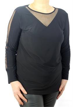 Bayan Büyük Beden Giyim Yaka ve Kol Dekolteli Taş Detaylı Bluz