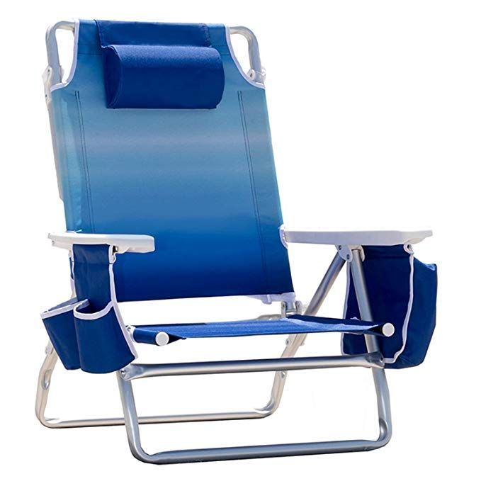 Nautica Reclining Portable Beach Chair With Insulated Cooler Blue Ombre Review Beach Chairs Portable Beach Chairs Outdoor Chairs