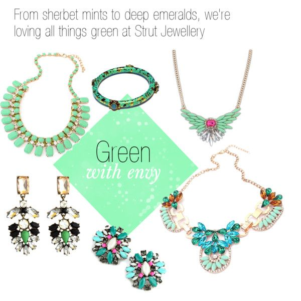 """""""Green With Envy"""" by strutjewellery on Polyvore #jewellery #green jewellery #mint #statementpiece"""
