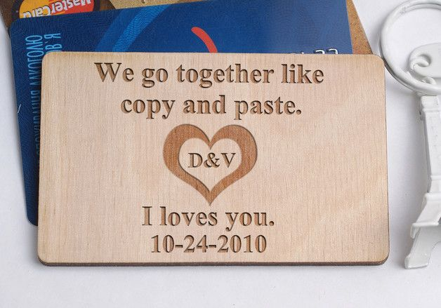 Сustom wallet insert, Wooden wallet card, Anniversary Personalized Wallet Card, Laser Engraved Wallet Insert,  wooden Engraved Wallet Insert Card, Engraved Wallet Insert, wood wallet card,  Wood...