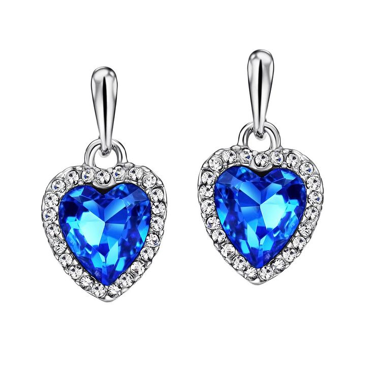 Titanic, Neoglory Blue Ocean Heart Crystal Drop Earrings Rhinestone Platinum Plated Fashion: Jewelry:
