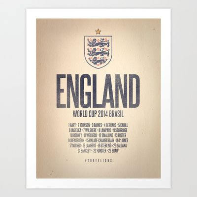 England World Cup 2014 Celebrative Artwork Art Print by The Soccer Supply - $14.56