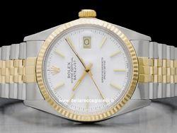 Rolex - Datejust 16013 Cassa: acciaio/oro - 36 mm Ghiera: oro giallo Vetro: vetroplastica Colore quadrante: bianco Bracciale: acciaio/oro Chiusura: deployant Movimento: automatico Anno: 1985