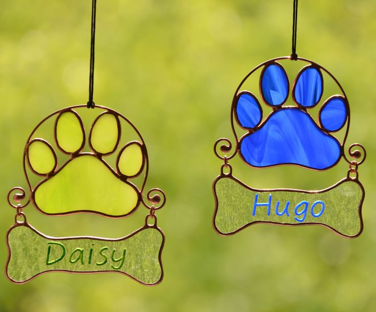 Personalized stained glass pet paw print suncatcher, Tiffany art glass, pet lover gift