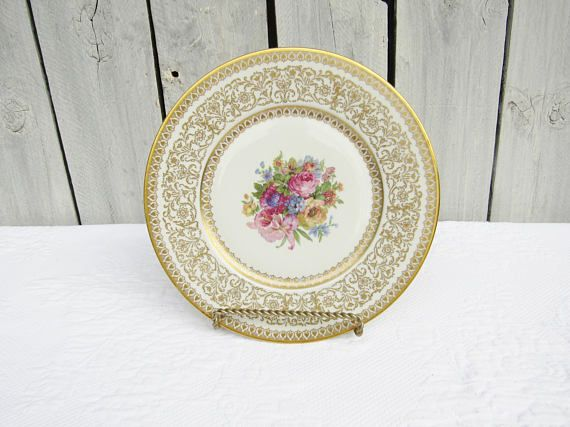 Vintage Gold De Luxe Czechoslovakian Dinner Plates, Pink Cabbage Rose Bouquet Design,Gold Painted in USA, 12 Gorgeous Shabby Chic Dinnerware
