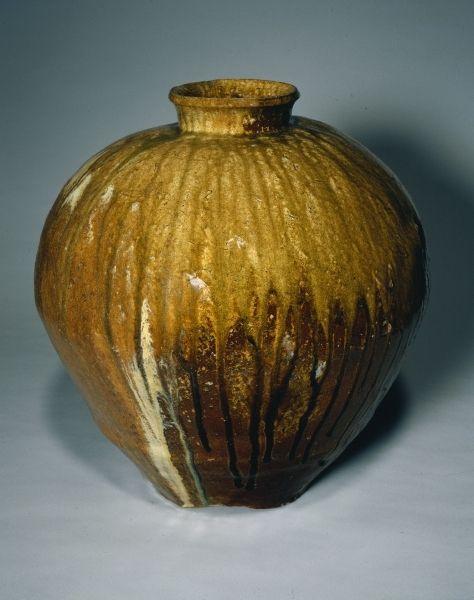 Storage Jar, Echizen Ware, 1400s  Japan, Muromachi Period (1392-1573)  stoneware with natural ash glaze, Diameter - w:47.00 cm (w:18 1/2 inches) Overall - h:49.80 cm (h:19 9/16 inches).
