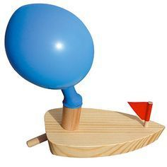 balloon power boat – blow up the balloon through the tail pipe, then let it go in the water.... cute and loads of fun for the #kids