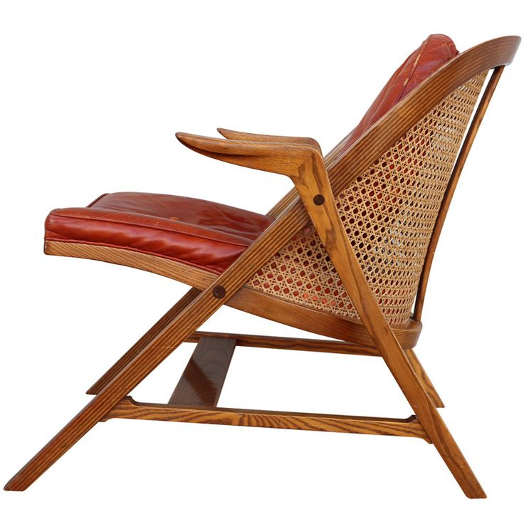 Caned Back Lounge Chair By Edward Wormley For Dunbar