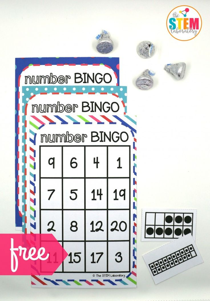 Number BINGO math game for kids- a great way to practice teen numbers as well! A fun hands-on way to work on math with kindergarten and preschool kids!