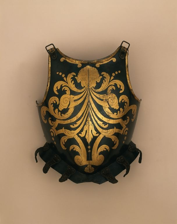 Italian, Brescia    Half Armor of a member of the Papal Swiss Guard, c. 1600 with 18th century blued and gilded decoration    Blued steel with gilding, brass, iron, leather, velvet weave - Art Institute of Chicago