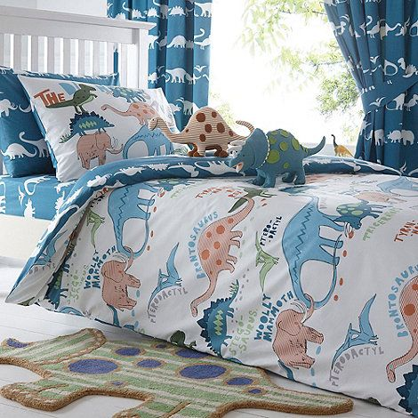 Bluezoo Kid S Blue Dinosaur Print Bedding Set Debenhams