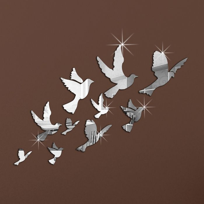 10pcs Peace Pigeons Pattern Flying Birds 2014 Crystal Reflective DIY Mirror Effect 3D Wall Stickers Home Decoration