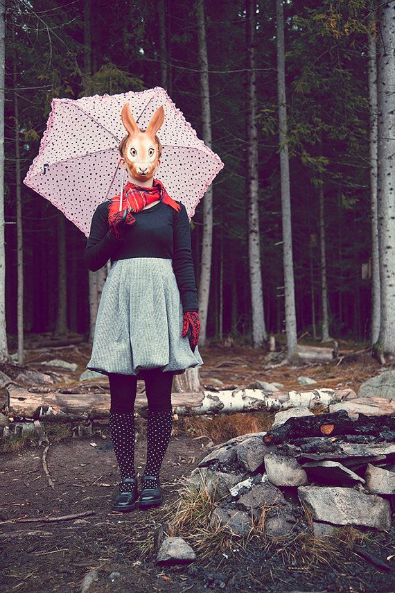 Girl with rabbit mask, surreal photography, dreamy photography, rabbit in the forest, whimsical photography, creepy photography